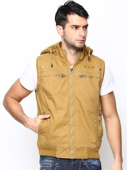 Fort Collins Men Mustard Yellow Sleeveless Jacket with Detachable Hood