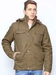 Fort Collins Men Khaki Jacket with Detachable Hood