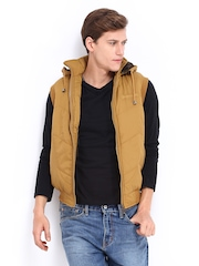 Men Mustard Brown Sleeveless Hooded Jacket Fort Collins