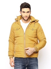 Men Mustard Yellow Hooded Padded Jacket Fort Collins
