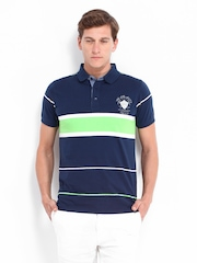 Fort Collins Men Navy & Green Striped Polo T-shirt