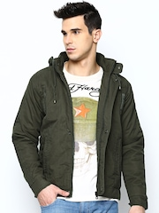 Fort Collins Men Olive Green Jacket with Detachable Hood