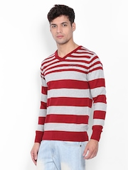 Fort Collins Men Red & Grey Striped Sweater