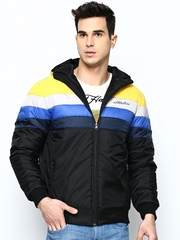 Men Yellow & Black Hooded Jacket Fort Collins