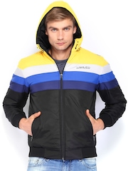 Fort Collins Men Yellow & Black Padded Hooded Jacket
