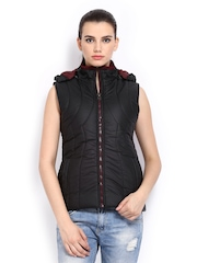 Fort Collins Women Black Padded Sleeveless Jacket