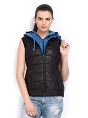 Women Black Padded Sleeveless Jacket Fort Collins