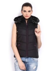 Women Black Sleeveless Padded Jacket Fort Collins
