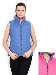 Women Blue & Pink Padded Reversible Jacket Fort Collins