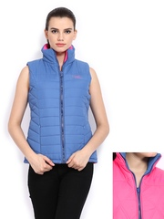 Fort Collins Women Blue & Pink Padded Reversible Jacket