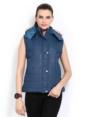 Women Blue Sleeveless Padded Jacket Fort Collins