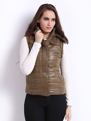 Fort Collins Women Brown Padded Hooded Sleeveless Jacket