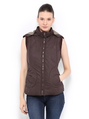 Women Burgundy Padded Sleeveless Jacket Fort Collins