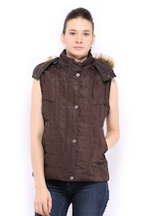 Women Coffee Brown Padded Sleeveless Jacket Fort Collins