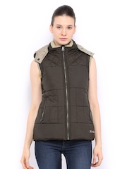 Women Coffee Brown Padded Sleeveless Jacket Fort Collins 389722