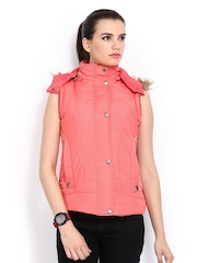 Women Coral Pink Sleeveless Padded Jacket Fort Collins