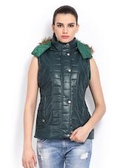 Women Dark Green Sleeveless Padded Jacket Fort Collins