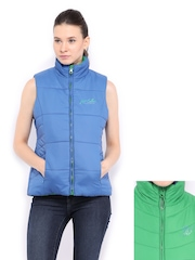 Women Green & Blue Padded Sleeveless Reversible Jacket Fort Collins