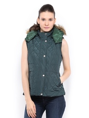 Women Green Padded Sleeveless Jacket Fort Collins