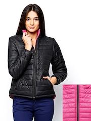 Fort Collins Women Black & Pink Padded Reversible Jacket
