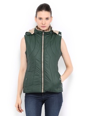 Women Green Sleeveless Padded Jacket Fort Collins