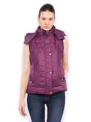 Women Purple Padded Sleeveless Jacket Fort Collins 389765