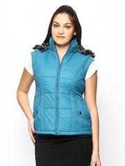 Women Blue Sleeveless Jacket Fort Collins