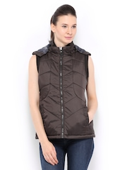 Women Brown Padded Sleeveless Jacket Fort Collins