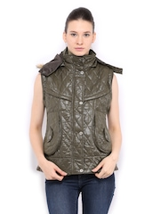 Women Olive Green Sleeveless Padded Jacket Fort Collins