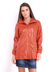 Women Orange Hooded Rain Jacket Fort Collins