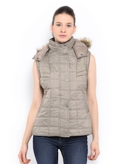 Women Beige Padded Sleeveless Jacket Fort Collins