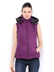 Women Purple Padded Sleeveless Jacket Fort Collins