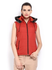 Women Red Hooded Jacket Fort Collins