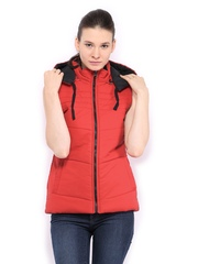 Fort Collins Women Red Padded Sleeveless Jacket