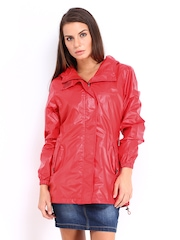 Women Red Hooded Rain Jacket Fort Collins