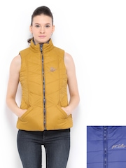 Women Blue & Mustard Yellow Padded Reversible Jacket Fort Collins