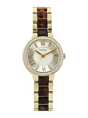 Fossil Women Muted Gold Toned Dial Watch