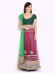 Four Seasons Pink & Green Net Semi-Stitched Lehenga Choli Material