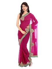 Four Seasons Pink Embroidered Chiffon Fashion Saree