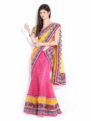 Four Seasons Pink Net Semi-Stitched Lehenga Choli Material