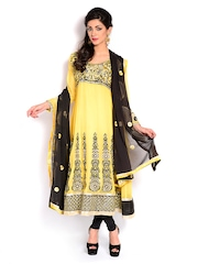Four Seasons Yellow & Black Georgette Semi-Stitched Dress Material