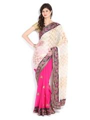Four Seasons Cream Coloured & Pink Georgette Fashion Saree