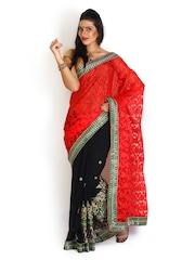 Four Seasons Red & Black Embroidered Super Net Fashion Saree