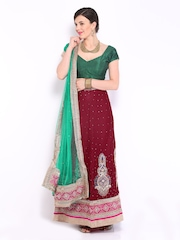 Four Seasons Maroon Velvet Semi-Stitched Lehenga Choli Material