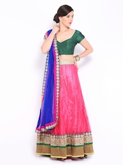 Four Seasons Pink & Blue Net Semi-Stitched Lehenga Choli Material