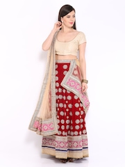 Four Seasons Red & Beige Art Silk Semi-Stitched Lehenga Choli Material