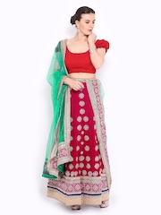Four Seasons Magenta & Green Velvet Semi-Stitched Lehenga Choli Material