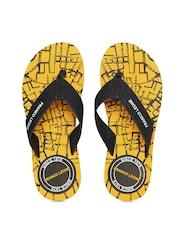 Franco Leone Men Black & Yellow Flip Flops