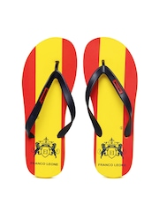 Franco Leone Men Navy Blue And Yellow Flip Flops