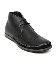 Franco Leone Men Black Leather Casual Shoes